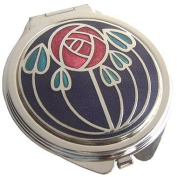 Compact Mirror - Rennie Mackintosh Rose Design - Red on Black - Aqua Leaves by Really Nice