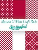 MAROON & WHITE PATTERN CRAFT PACK! 6 Pieces 12x12 Chevron Polka Dots Pattern Craft Vinyl Oracal 651