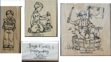 Stampin' Up! Little Boys Wood Mounted Rubber Stamps Set Of 4