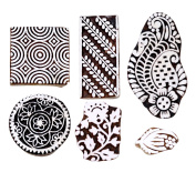 Hashcart Handmade Printing Stamps Wooden Blocks (Set of 6) Hand-Carved for Saree Border Making Pottery Crafts Textile Printing