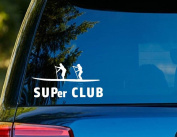T1148 SUPer CLUB Paddleboard Decal - 7.6cm x 15cm - Easy to apply- Instructions Included - Premium 6 Year Vinyl