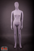 Female Mannequin, Flexible Posable Bendable Full-size Soft -Grey, by TK Products, Great for Costumes
