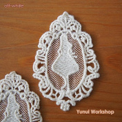 (10pcs, Off-White) Alice Motif Cotton Lace Applique with Trimmed Oval 70mm x 45mm White Wonderland Fairy Tales Sewing Craft DIY