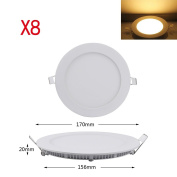 8 Pcs LED Panel Light Ceiling Light Pendant Light Round with 12W Warm White Power Flush Mounting Downlight 900LM