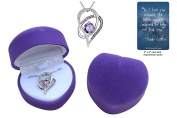 """I Love You to the Moon and Back"" .925 sterling silver heart necklace gift set with purple crystal in purple heart jewellery box with love quote card"