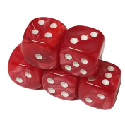 Set of 5 Deluxe Marbleized Red Standard Dice 12mm White Spots in Snow Organza Bag