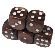 Set of 5 Deluxe Marbleized Brown Standard Dice 12mm White Spots in Snow Organza Bag