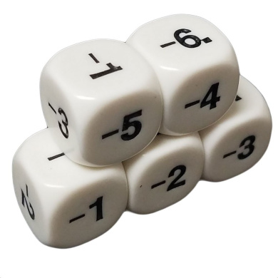 Set of 5 Educational Dice 6 Sided Math Subtraction Numbers White in Snow Organza Bag