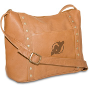NHL Tan Leather Women's Top Zip Handbag