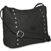 NHL Black Leather Women's Top Zip Handbag