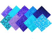 10 25cm x 25cm Twilight/shades of Purple and Blue LAYER CAKE Pack-10 different patterns/colours-1 of each