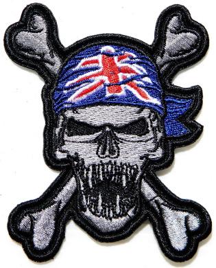 25cm Big Large Skull UK Flag Turban Biker Tatoo Logo Back Motorcycles Jacket T-shirt Patch Sew Iron on Embroidered Sign Badge Costume