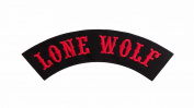 LONE WOLF Black w/ Red Top Rocker Iron On Patch for Motorcycle Rider or Bikers Vest