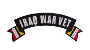IRAQ WAR VET Black w/ White with Gold/Black/White/Red Flags Top Rocker Iron On Patch for Motorcycle Rider or Bikers Veteran Vest