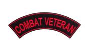 COMBAT VETERAN Black w/ Red Top Rocker Iron On Patch for Motorcycle Rider or Bikers Veteran Vest