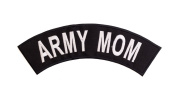 ARMY MOM Black w/ White Top Rocker Iron On Patch for Motorcycle Rider or Bikers Veteran Vest