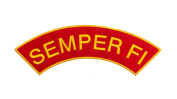 SEMPER FI Red w/ Yellow Top Rocker Iron On Patch for Motorcycle Rider or Bikers Veteran Vest