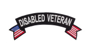 DISABLED VETERAN Black w/ White Top Rocker Iron On Patch for Motorcycle Rider or Bikers Veteran Vest