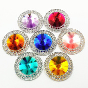60pcs 20mm Bright Red Yellow Blue Pink Purple Mixed Colour Resin Loose Beads Flatback Rhinestone Jewellery Findings DIY Supplies Gem Stones Accessory For Sewing 2 Holes