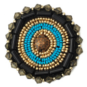 Stitch-on Beaded Applique Patch by pc, 5.1cm - 0.6cm D, OSB-19185