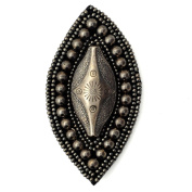 Stitch-on Beaded Applique Patch by 1 pc, Dark Antique Silver, OSB-30532
