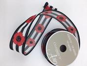 Celebrate IT- Ribbon - Strip ribbon (Black & white) wiyh flower 3.8cm x 4 yds