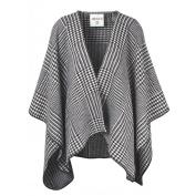 Ibena Cotton Pure Blanket Poncho, Houndstooth Black/White