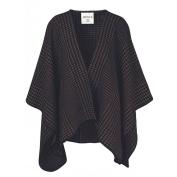 Ibena Cotton Pure Blanket Poncho, Houndstooth Black/Brown