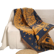 Double Sided Use Cotton Tapestry Couch Throw Blanket With Decorative Tassels for Sofa Bed, 130cm X 180cm Couch Cover