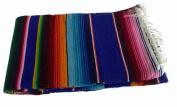 #203 Sarape Style Falsa Blanket Classic Mexican Serape Pattern Woven Royal Blue