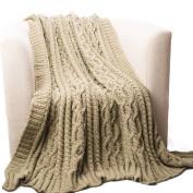 Battilo Knitted Luxury Chenille Throw blanket,oversize 130cm by 170cm , camel