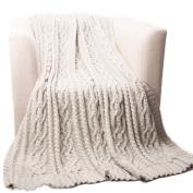 Battilo Knitted Luxury Chenille Throw blanket,oversize 130cm by 170cm , cream