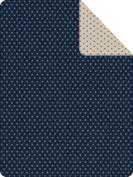 IBENA Messina Stars Reversible Throw Blanket, Navy/Ivory