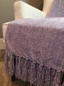 THRO by Marlo Lorenz Nirvana (Lavender Purple) Cece Solid Chenille Throw with Fringe Decorative Throw / Blanket 130cm x 150cm