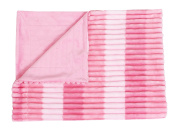 Thro by Marlo Lorenz TH012375002 Korey Colour Blocked Ribbed Fleece Baby Throw in Pink Decorative Baby Throw,Pink
