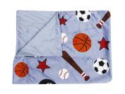 Thro by Marlo Lorenz TH005559001 Sports Printed Microplush Baby Throw in Blue Multi Decorative Baby Throw