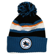 NHL Mitchell & Ness Jersey Stripe Hi Five Knit Hat with Pom