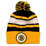 NHL Mitchell & Ness Jersey Stripe Hi Five Knit Hat with Pom