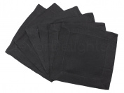 6 CleverDelights Black Linen Cocktail Napkins - 15cm x 15cm - 100% Pure Linen - Beverage Coaster Napkins