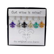 Wine Things Unlimited WT-1521P Fleur De Lis Wine Charms, Multicolor