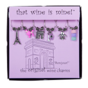 Wine Things Unlimited WT-1632P Bonjour! Wine Charms, Multicolor