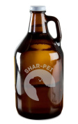 Shar-Pei Dog Breed Pride Hand-Made Etched Glass Beer Growler 1890ml