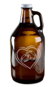 Lovers Rings Intertwined Inside Heart Hand-Made Etched Glass Beer Growler 1890ml