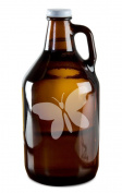 Pretty Butterfly Hand-Made Etched Glass Beer Growler 1890ml