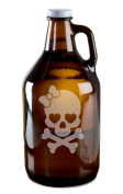 Heart Eyed Female Skull And Crossed Bones Hand-Made Etched Glass Beer Growler 1890ml