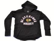 Chicago Blackhawks SAAG Women Black Long Sleeve Hooded Tri-Blend T-Shirt