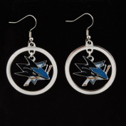 NHL Pittsburgh Penguins Floating Logo Hoop Earrings