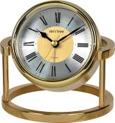 RHYTHM Table Mantel Clock Gold Metal with Alarm Quartz - 7958