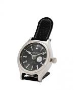 Casa Padrino designer luxury clock nickel finish with black leather 10 x H. 16 cm - Luxury Collection