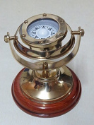 5 Brass Plated Gimbaled Brass Compass with Stand - Display Piece by NAUTICALMART